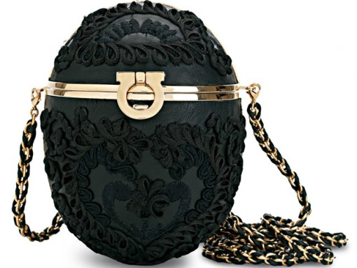Salvatore Ferragamo Black Embroidered Egg Clutch