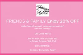 It's time for the Saks Fifth Avenue Friends & Family Sale