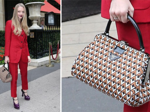 Amanda Seyfried wears and carries Prada