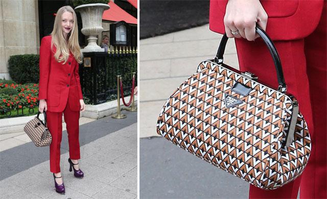 Amanda Seyfried wears and carries Prada