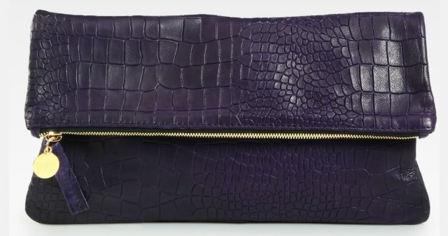 CLARE VIVIER Crocodile-Embossed Fold-Over Clutch