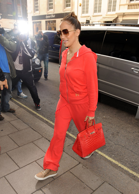 faux hermes birkin - Jennifer Lopez goes monotone in a tracksuit and crocodile Hermes ...