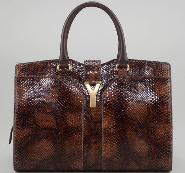Yves Saint Laurent ChYc Medium Python Tote Bag