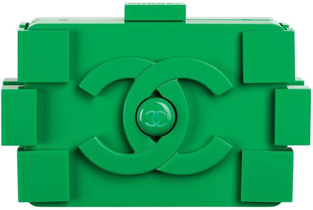 Chanel Green plexiglas clutch