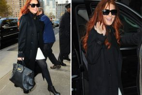 Lindsay Lohan's big black Hermes Birkin looks a little bit beat up