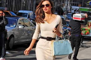 Miranda Kerr looks absolutely perfect with Prada