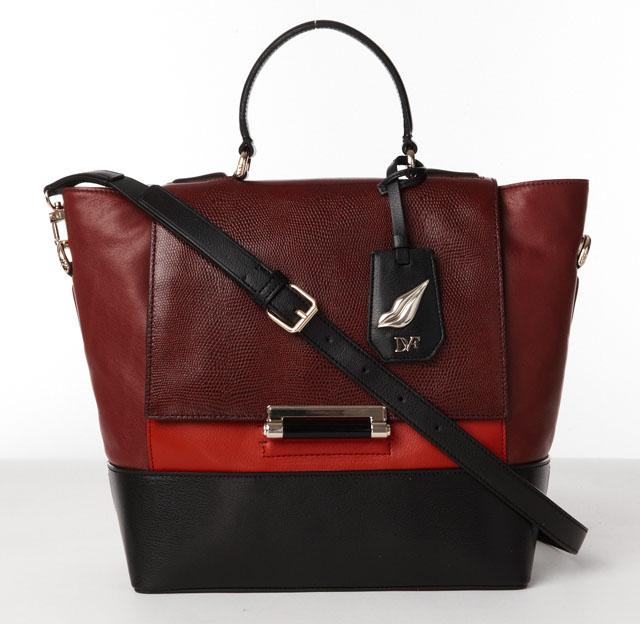 440 Top Handle Embossed Lizard Leather, Deep Cherry-Crimson-Black