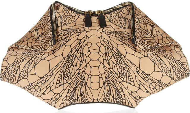 Alexander McQueen De Manta printed silk-satin clutch