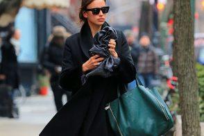 Irina Shayk carries a simple Celine tote in New York