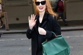 Jessica Chastain arrives to 'The Heiress' on Broadway in NYC
