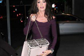 Lisa Vanderpump carries a crystal-packed Valentino shoulder bag