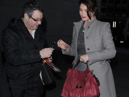 Gemma Arterton seen arriving at BBC Radio 1 studios in London