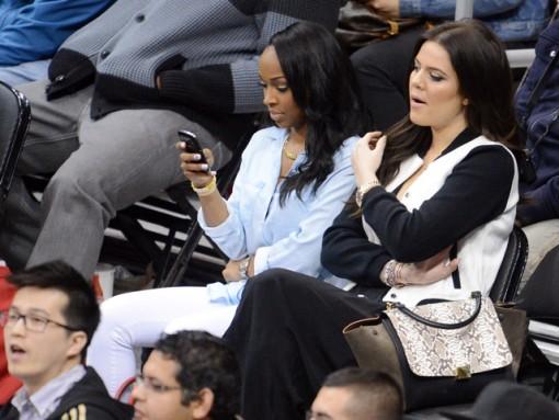 Khloe Kardashian watches the LA Clippers v Houston Rockets, Los Angeles, CA