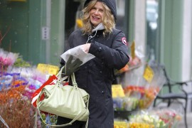 Kyra Sedgwick takes a flowery stroll in NYC