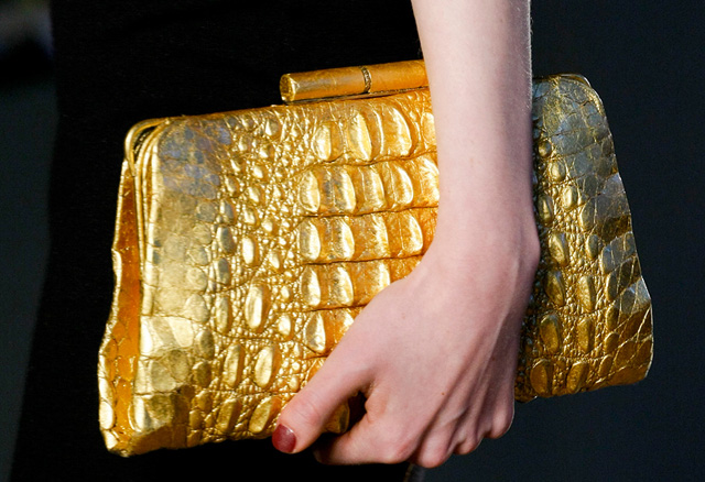 LWren Scott Gold Croc Clutch