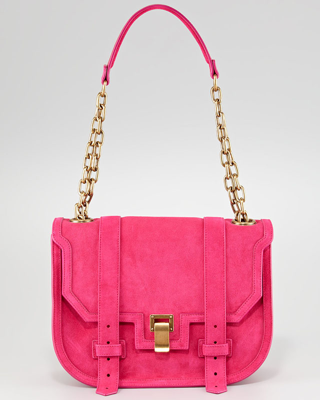 Proenza Schouler PS1 Mini Messenger in pink suede