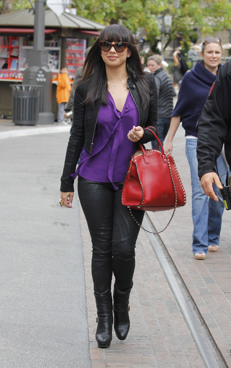 Cheryl Burke carries a red Valentino Rockstud Leather Tote at The Grove in LA (3)