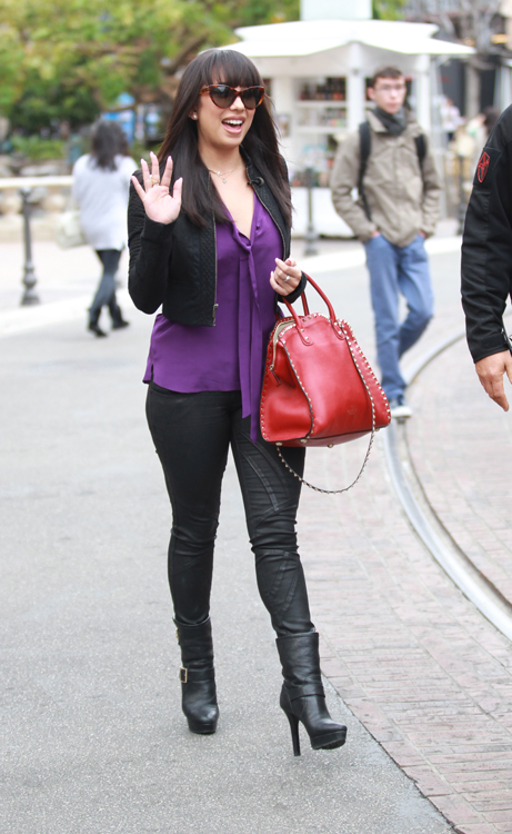 Cheryl Burke carries a red Valentino Rockstud Leather Tote at The Grove in LA (4)