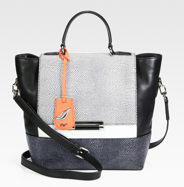 Diane von Furstenberg 440 Colorblock Lizard-Embossed Top Handle Bag