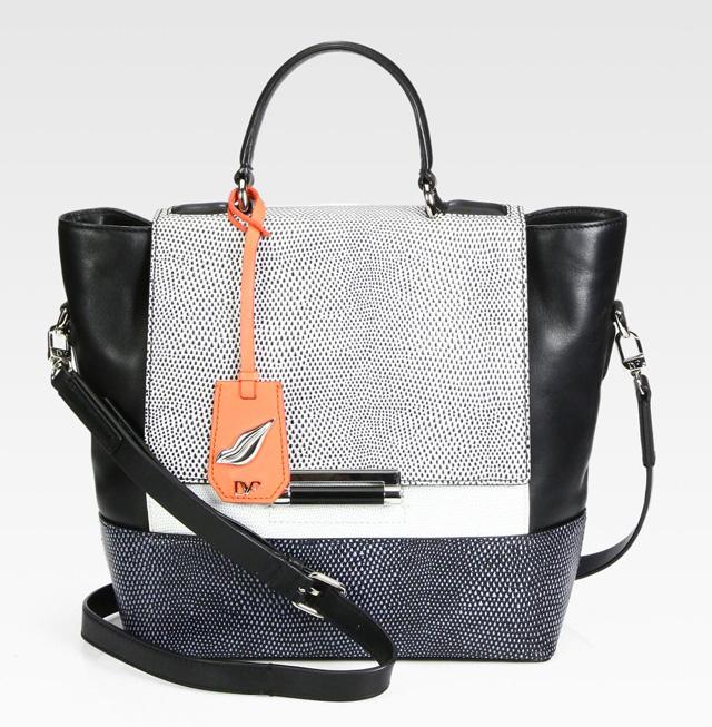 Diane von Furstenberg 440 Colorblock Lizard-Embossed Top Handle Bag