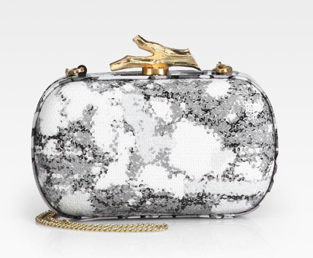 Diane von Furstenberg Lytton Abstract Printed Sequin Clutch