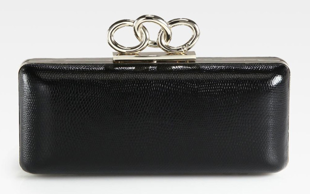 Diane von Furstenberg Sutra Lizard-Embossed Leather Clutch