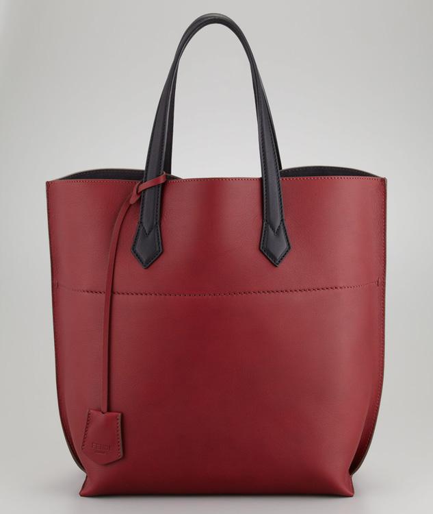 Fendi Matte Leather Shopping Tote