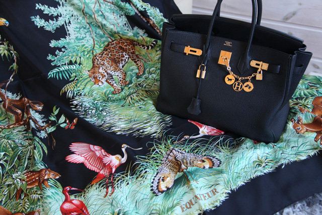 Hermes Birkin with charms and silk carf