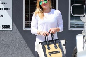 Hilary Duff sports a brand new tricolor Celine Luggage Tote