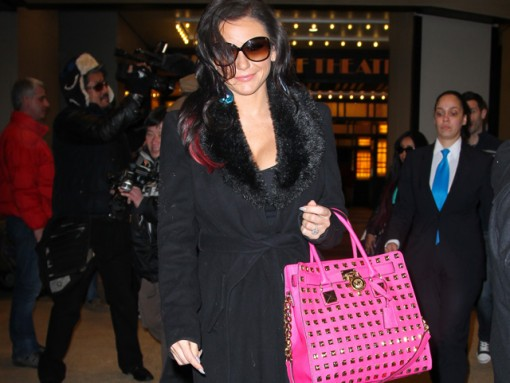 J Woww carries a MICHAEL Michael Kors Hamilton Studded Tote Bag in hot pink outside VH1 studios in NYC (5)