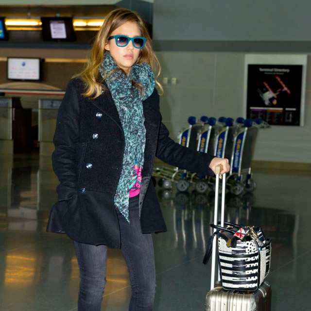 Jessica Alba carries a Christian Louboutin Farida Snakeskin Shopping Tote at JFK Airport in NYC (4)