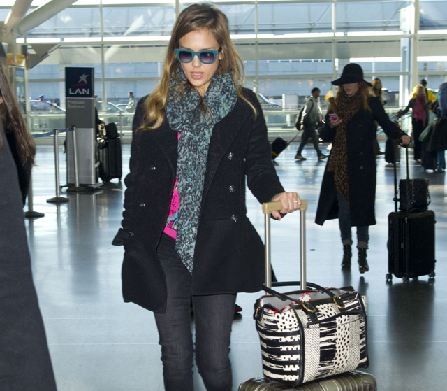 Jessica Alba carries a Christian Louboutin Farida Snakeskin Shopping Tote at JFK Airport in NYC (5)