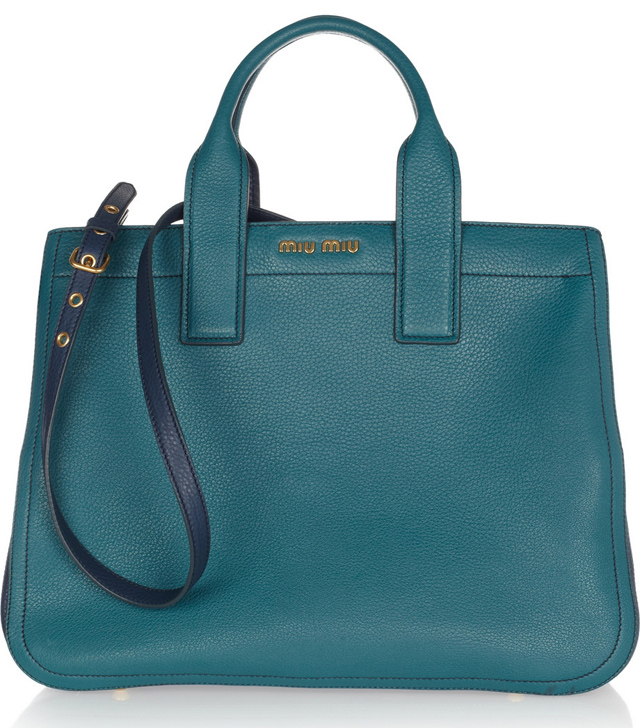 Miu Miu Two-Tone Textured Leather Tote