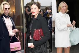 Celebrities carrying designer handbags at Paris Fashion Week