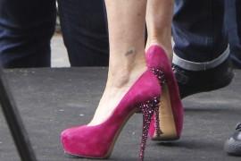 Lisa Vanderpump wears Casadei pink suede pumps