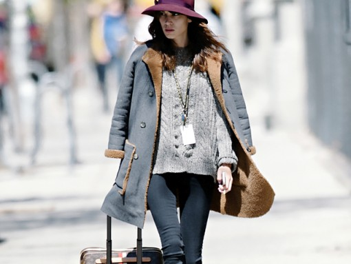 Alexa Chung wheels a Louis Vuitton Mon Monogram Pegase Suitcase around Manhattan (5)