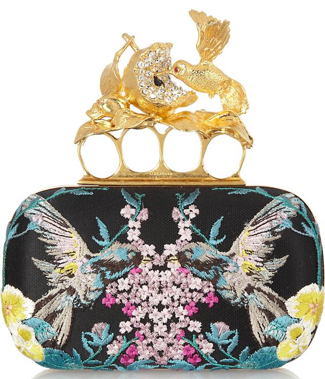 Alexander McQueen Knuckle Embroidered Satin Box Clutch