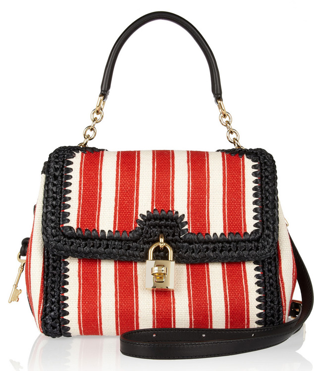 Dolce & Gabbana Miss Dolce Canvas and Raffia Bag