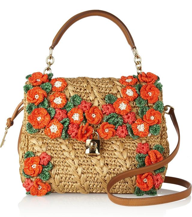 Dolce & Gabbana Miss Dolce Raffia Flower Bag