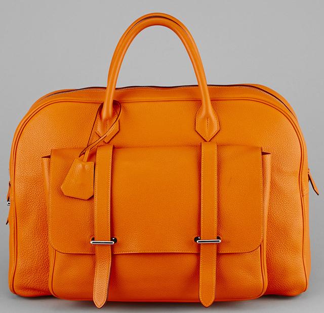 Hermes Orange H Togo Leather 45cm Steven Bag