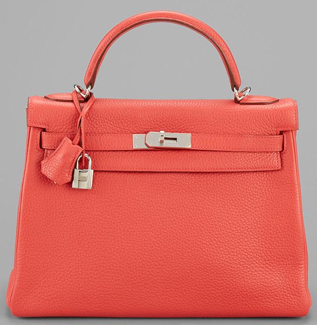 Hermes Rose Clemence 32cm Kelly Bag