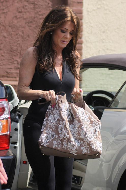 Lisa Vanderpump carries a Valentino Embroidered Flower Tote in LA (2)
