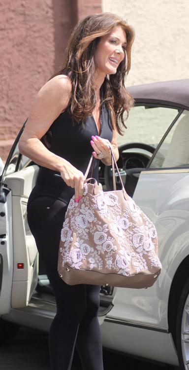 Lisa Vanderpump carries a Valentino Embroidered Flower Tote in LA (4)