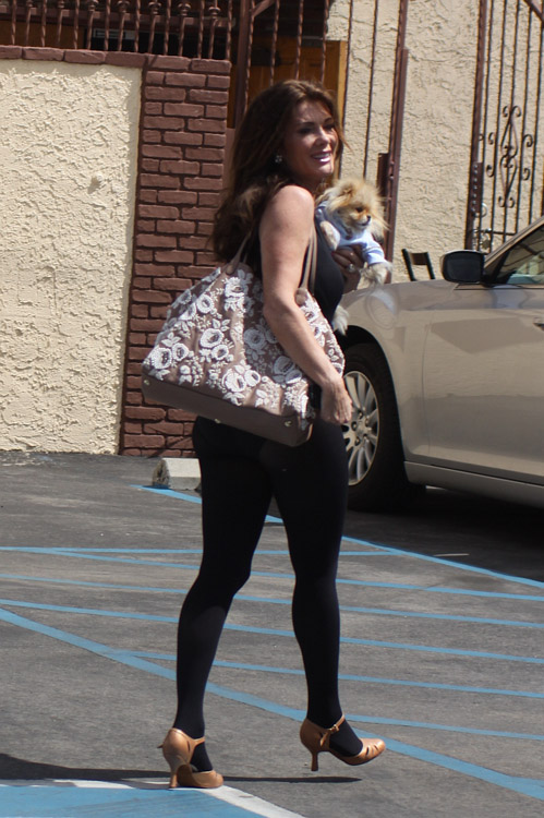 Lisa Vanderpump carries a Valentino Embroidered Flower Tote in LA (1)