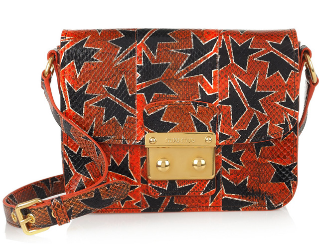 Miu Miu Hand-Painted Watersnake Shoulder Bag