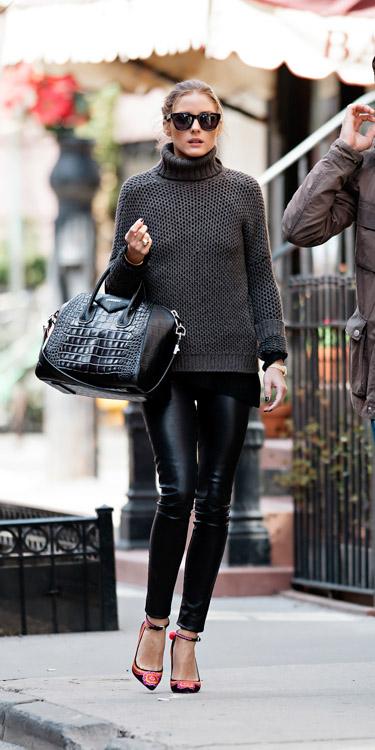 Olivia Palermo carries a black, crocodile-embossed Givenchy Antigona Bag (2)