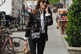Alexa Chung carries a Chanel Mini Classic Flap Bag and Louis Vuitton Mon Monogram Keepall Bag (5)