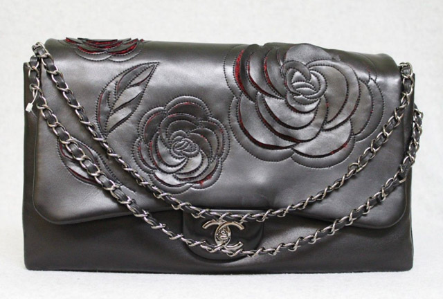 Chanel Leather and Tweed Camellia Flap Shoulder Bag