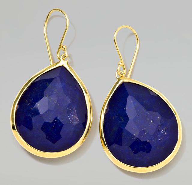 Ippolita 18k Gold Rock Candy Large Lapis Teardrop Earrings
