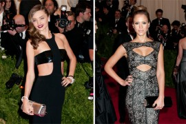 Who Carried It Better: Miranda Kerr vs. Jessica Alba with a Christian Louboutin Marquise Clutch at the Met Gala